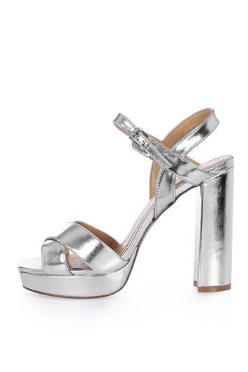 Major Cross Strap Platform Sandal - predominant colour: silver; occasions: evening, occasion; material: suede; ankle detail: ankle strap; heel: block; toe: open toe/peeptoe; style: strappy; finish: metallic; pattern: plain; heel height: very high; shoe detail: platform; season: a/w 2016; wardrobe: event; trends: metallics