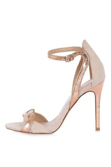 Masquerade Two Part Sandals - predominant colour: champagne; occasions: evening, occasion; material: faux leather; heel height: high; ankle detail: ankle strap; heel: stiletto; toe: open toe/peeptoe; style: strappy; finish: plain; pattern: plain; season: a/w 2016; wardrobe: event; trends: metallics