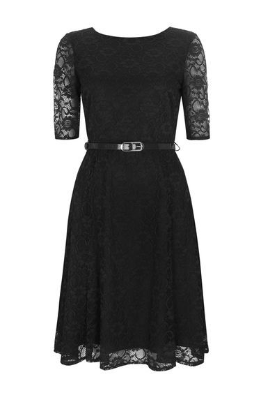 Black Floral Lace Fit And Flare Dress - neckline: round neck; waist detail: belted waist/tie at waist/drawstring; predominant colour: black; occasions: evening; length: on the knee; fit: fitted at waist & bust; style: fit & flare; hip detail: soft pleats at hip/draping at hip/flared at hip; sleeve length: half sleeve; sleeve style: standard; texture group: lace; pattern type: fabric; pattern size: standard; pattern: patterned/print; fibres: nylon - stretch; season: a/w 2016; wardrobe: event