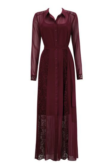 Berry Lace Insert Shirt Maxi Dress - neckline: shirt collar/peter pan/zip with opening; style: maxi dress; length: ankle length; predominant colour: burgundy; occasions: evening, occasion; fit: fitted at waist & bust; fibres: polyester/polyamide - 100%; sleeve length: long sleeve; sleeve style: standard; pattern type: fabric; pattern size: standard; pattern: patterned/print; texture group: other - light to midweight; embellishment: lace; season: a/w 2016; wardrobe: event
