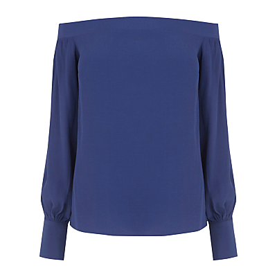 Off The Shoulder Top - neckline: off the shoulder; pattern: plain; sleeve style: balloon; style: blouse; predominant colour: royal blue; occasions: evening; length: standard; fibres: polyester/polyamide - 100%; fit: straight cut; sleeve length: long sleeve; texture group: crepes; pattern type: fabric; pattern size: standard; season: a/w 2016; wardrobe: event