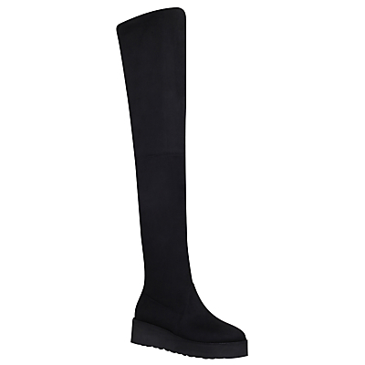 Walk Over The Knee Boots, Black - predominant colour: black; occasions: casual, creative work; material: suede; heel height: flat; heel: block; toe: round toe; boot length: over the knee; style: standard; finish: plain; pattern: plain; shoe detail: tread; season: a/w 2016