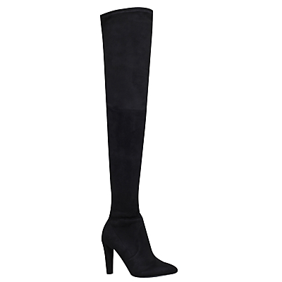 Wren Cone Heeled Over The Knee Boots, Black - predominant colour: black; occasions: casual, creative work; material: suede; heel height: high; heel: stiletto; toe: pointed toe; boot length: over the knee; style: standard; finish: plain; pattern: plain; wardrobe: investment; season: a/w 2016