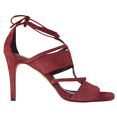 Brea Lace Up Sandals, Burgandy - predominant colour: burgundy; occasions: evening, occasion; material: leather; heel height: high; ankle detail: ankle tie; heel: stiletto; toe: open toe/peeptoe; style: strappy; finish: plain; pattern: colourblock; season: a/w 2016