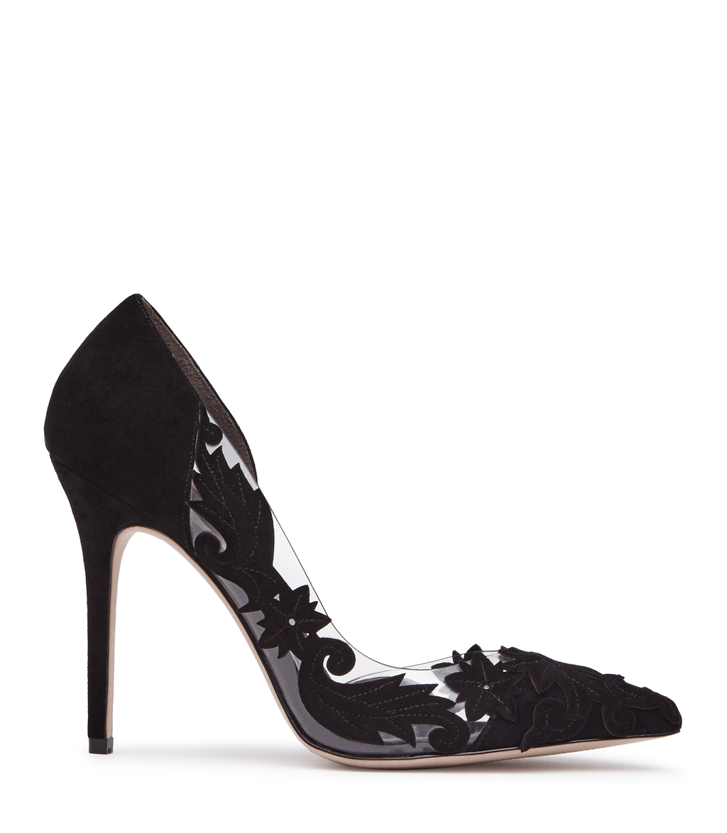 Tiber Womens Laser Cut Suede Shoes In Black - predominant colour: black; occasions: evening, occasion; material: leather; heel height: high; heel: stiletto; toe: pointed toe; style: courts; finish: plain; pattern: plain; season: a/w 2016; wardrobe: event