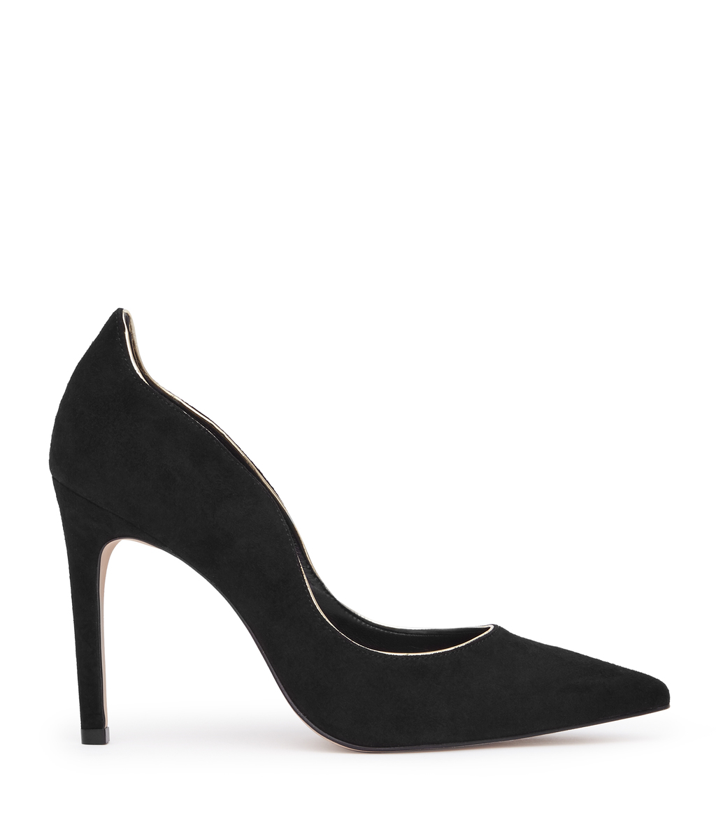Ness Womens Suede Court Shoes In Black - predominant colour: black; occasions: evening, occasion; material: leather; heel height: high; heel: stiletto; toe: pointed toe; style: courts; finish: plain; pattern: plain; season: a/w 2016; wardrobe: event