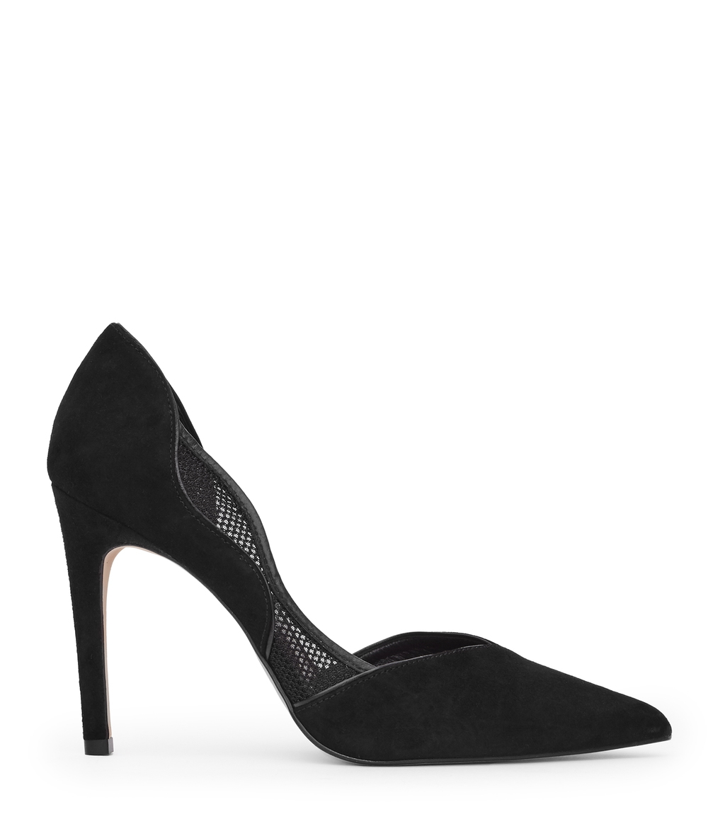 Maggie Womens Mesh Detail Court Shoes In Black - predominant colour: black; occasions: evening; material: suede; heel: stiletto; toe: pointed toe; style: courts; finish: plain; pattern: plain; heel height: very high; season: a/w 2016; wardrobe: event