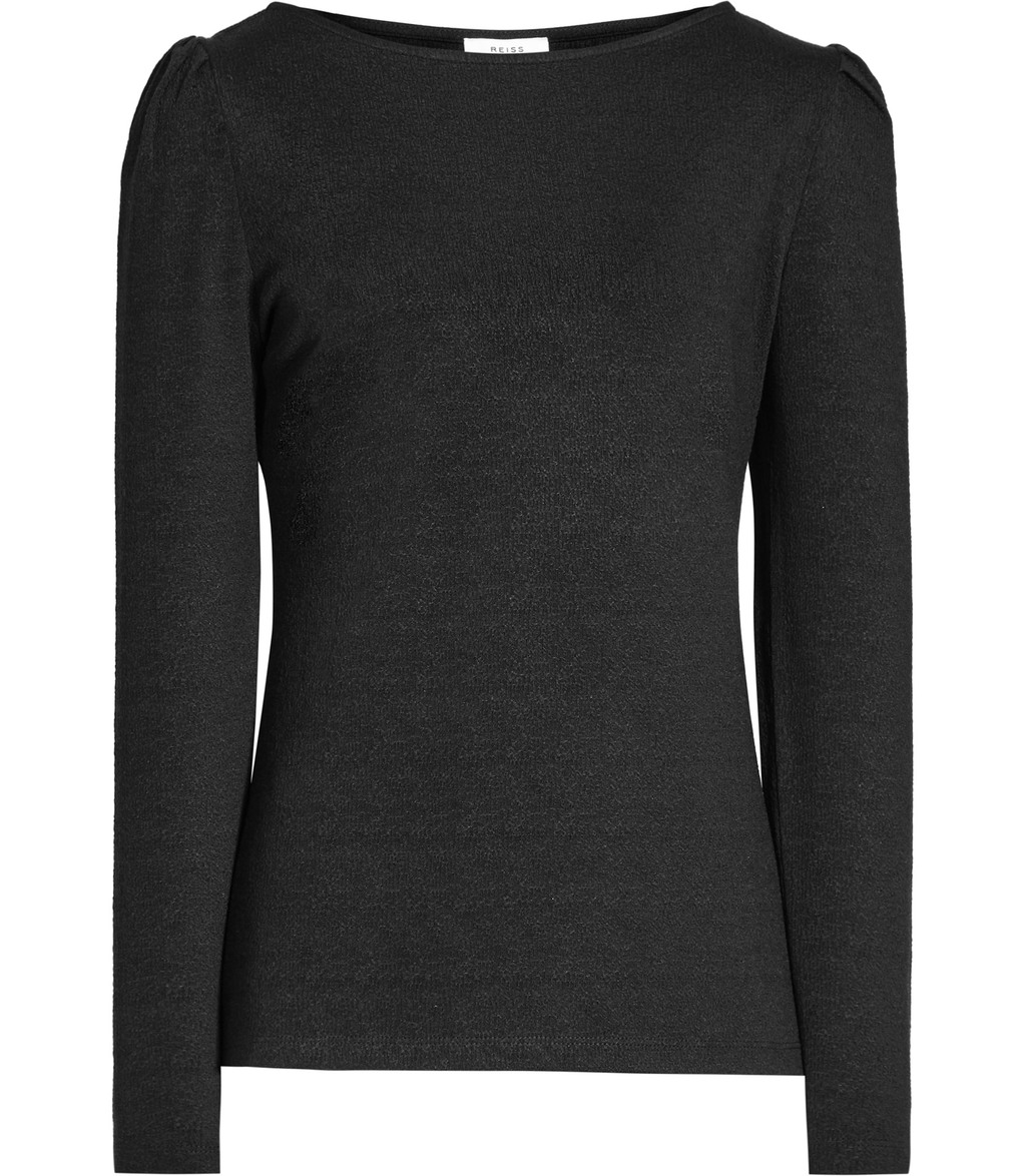 Erol Womens Long Sleeved Jersey Top In Black - neckline: slash/boat neckline; pattern: plain; predominant colour: black; occasions: casual; length: standard; style: top; fibres: polyester/polyamide - stretch; fit: body skimming; sleeve length: long sleeve; sleeve style: standard; pattern type: fabric; texture group: jersey - stretchy/drapey; wardrobe: basic; season: a/w 2016
