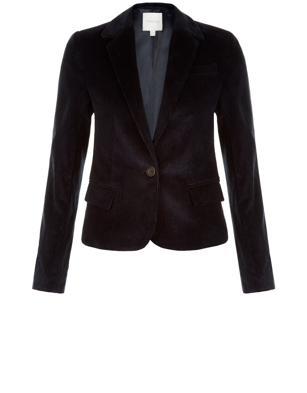 Ola Corduroy Jacket - pattern: plain; style: single breasted blazer; collar: standard lapel/rever collar; predominant colour: black; occasions: work, creative work; length: standard; fit: tailored/fitted; fibres: cotton - 100%; sleeve length: long sleeve; sleeve style: standard; texture group: corduroy; collar break: medium; pattern type: fabric; season: a/w 2016