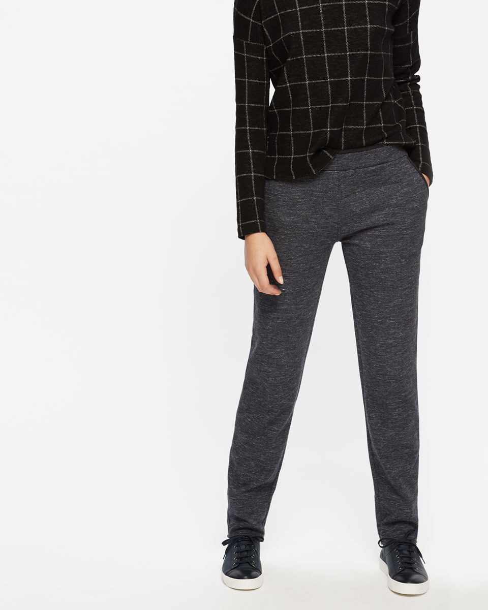 Herringbone Jersey Joggers - length: standard; pattern: plain; style: tracksuit pants; waist: mid/regular rise; predominant colour: charcoal; occasions: casual; fibres: cotton - stretch; fit: baggy; pattern type: fabric; texture group: jersey - stretchy/drapey; wardrobe: basic; season: a/w 2016