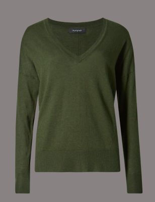Wool Blend V Neck Jumper - neckline: low v-neck; pattern: plain; style: standard; predominant colour: khaki; occasions: casual, work, creative work; length: standard; fibres: wool - mix; fit: standard fit; sleeve length: long sleeve; sleeve style: standard; texture group: knits/crochet; pattern type: knitted - fine stitch; wardrobe: basic; season: a/w 2016