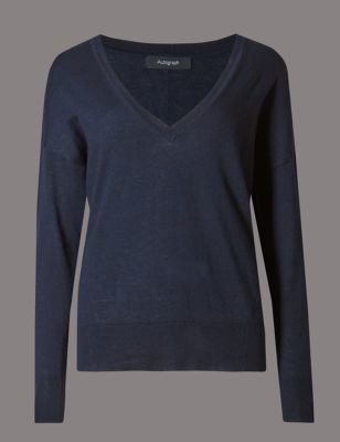 Wool Blend V Neck Jumper - neckline: low v-neck; pattern: plain; style: standard; predominant colour: navy; occasions: casual, creative work; length: standard; fibres: wool - mix; fit: standard fit; sleeve length: long sleeve; sleeve style: standard; texture group: knits/crochet; pattern type: knitted - fine stitch; pattern size: standard; wardrobe: basic; season: a/w 2016