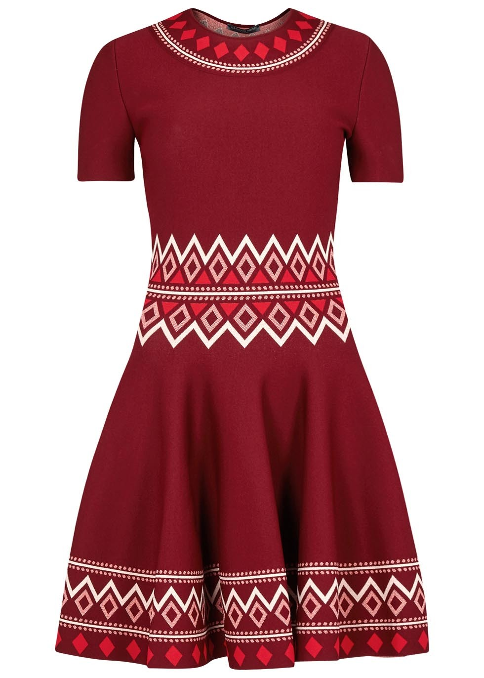 Claret Geometric Stretch Knit Dress - secondary colour: white; predominant colour: burgundy; occasions: casual, creative work; length: just above the knee; fit: fitted at waist & bust; style: fit & flare; neckline: crew; sleeve length: short sleeve; sleeve style: standard; pattern type: fabric; pattern: patterned/print; texture group: jersey - stretchy/drapey; fibres: viscose/rayon - mix; multicoloured: multicoloured; season: a/w 2016; wardrobe: highlight