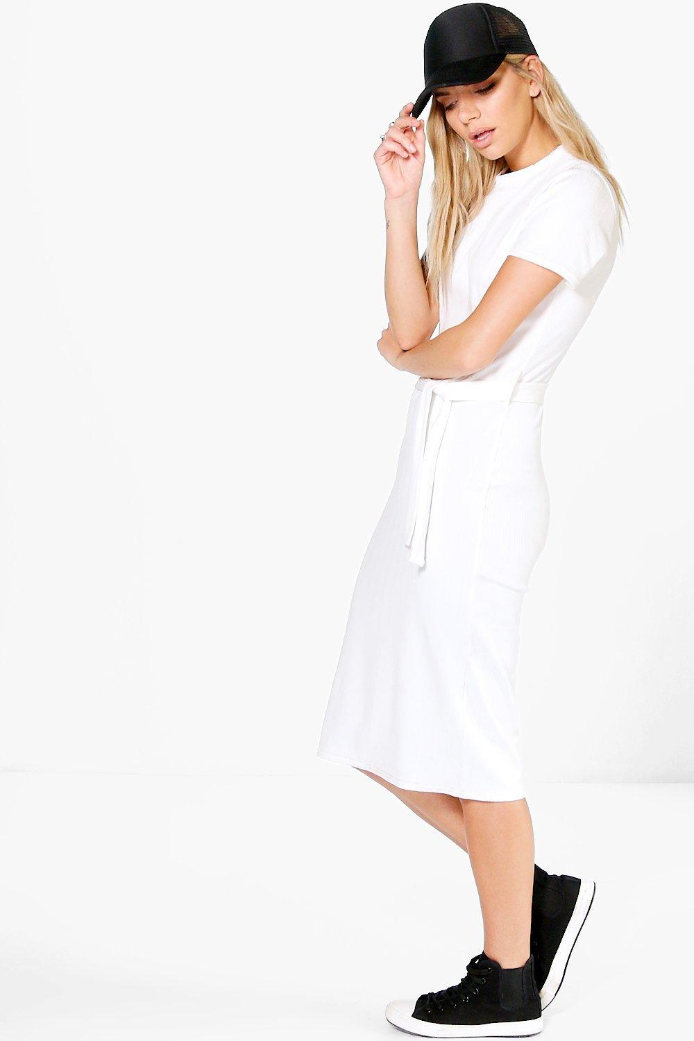 Rib Tie Waist Midi Dress Ivory - length: below the knee; pattern: plain; neckline: high neck; style: bodycon; waist detail: belted waist/tie at waist/drawstring; predominant colour: ivory/cream; occasions: casual; fit: body skimming; fibres: polyester/polyamide - stretch; sleeve length: short sleeve; sleeve style: standard; pattern type: fabric; texture group: jersey - stretchy/drapey; wardrobe: basic; season: a/w 2016