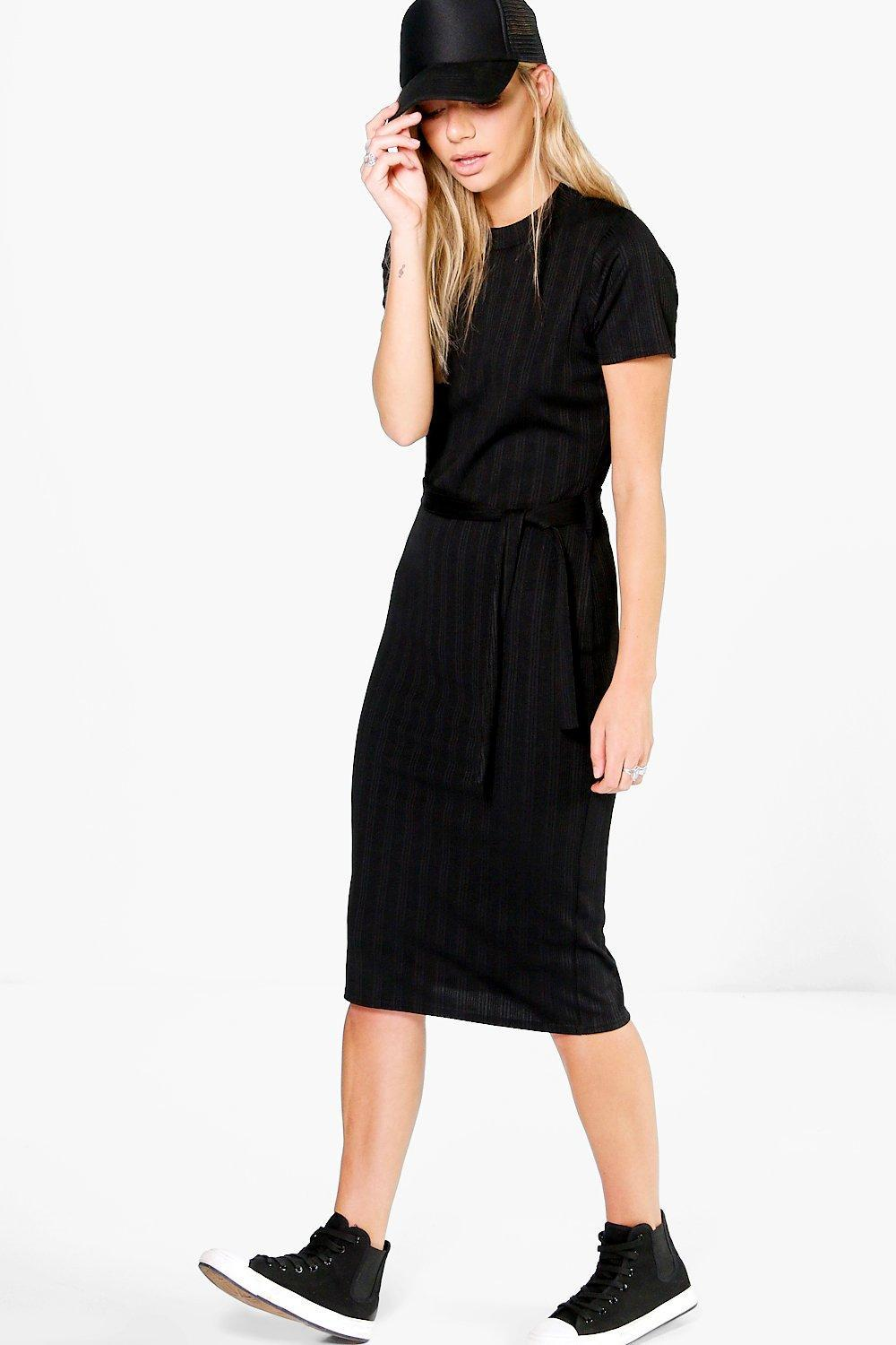 Rib Tie Waist Midi Dress Black - length: below the knee; fit: tight; pattern: plain; style: bodycon; predominant colour: black; occasions: evening; fibres: polyester/polyamide - stretch; neckline: crew; sleeve length: short sleeve; sleeve style: standard; texture group: jersey - clingy; pattern type: fabric; season: a/w 2016