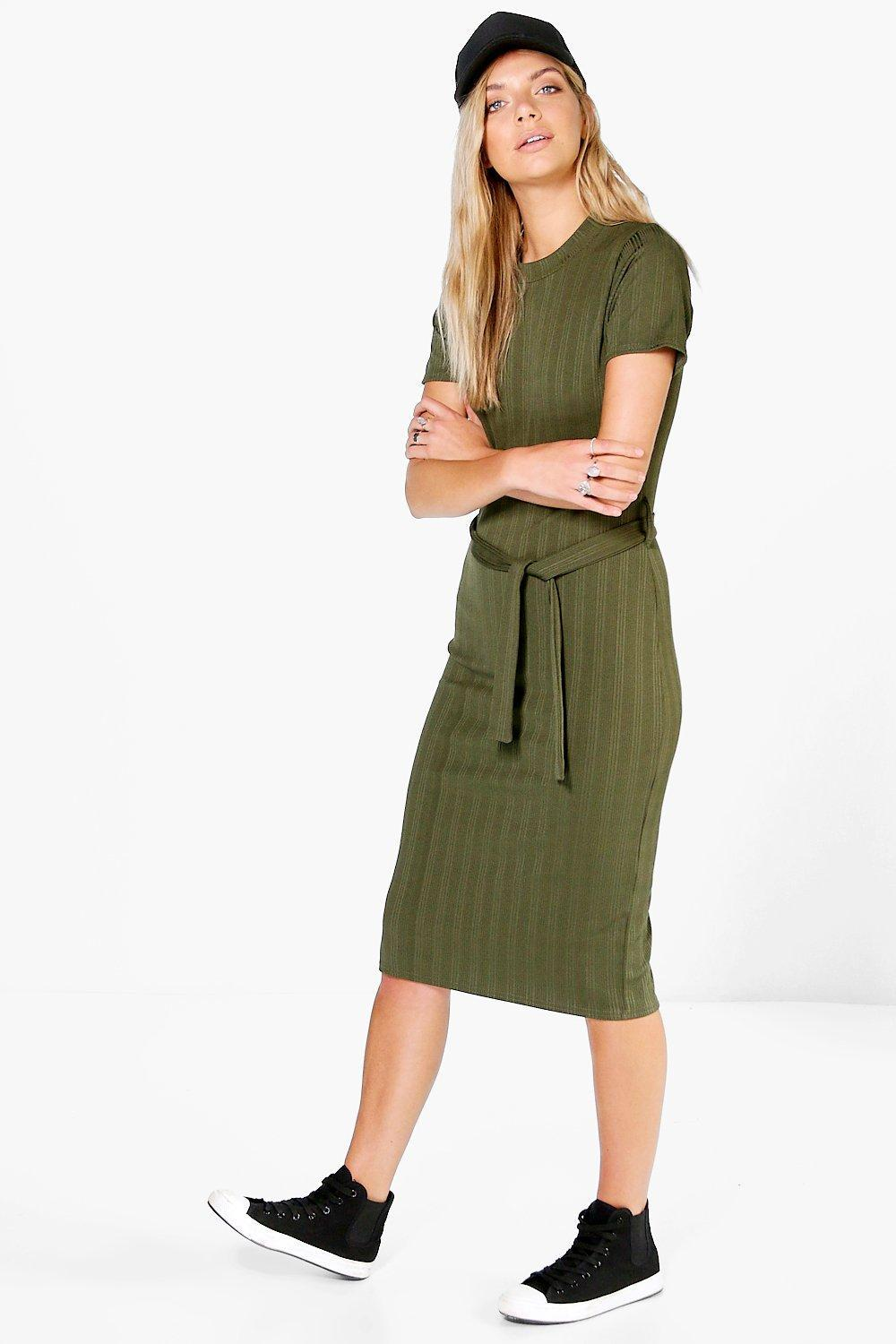 Rib Tie Waist Midi Dress Khaki - length: below the knee; fit: tight; pattern: plain; style: bodycon; waist detail: belted waist/tie at waist/drawstring; predominant colour: khaki; occasions: casual; fibres: polyester/polyamide - stretch; neckline: crew; sleeve length: short sleeve; sleeve style: standard; texture group: jersey - clingy; pattern type: fabric; wardrobe: basic; season: a/w 2016