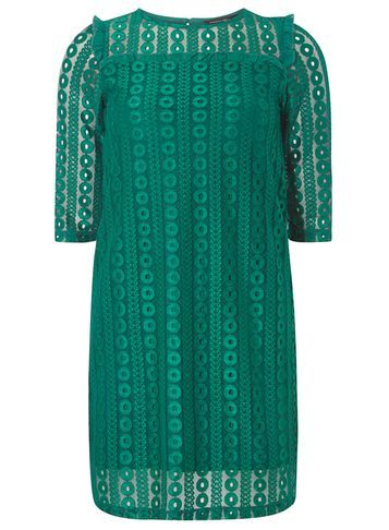 Womens Long Sleeve Geo Shift Dress Green - style: shift; pattern: plain; predominant colour: emerald green; occasions: evening; length: just above the knee; fit: body skimming; fibres: polyester/polyamide - stretch; neckline: crew; sleeve length: half sleeve; sleeve style: standard; texture group: lace; pattern type: fabric; season: a/w 2016