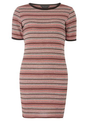 Womens Grey And Pink Stripe Tunic Grey - neckline: round neck; pattern: horizontal stripes; style: tunic; predominant colour: pink; occasions: casual, creative work; fibres: cotton - stretch; fit: body skimming; length: mid thigh; sleeve length: short sleeve; sleeve style: standard; texture group: jersey - clingy; pattern type: fabric; pattern size: big & busy (top); multicoloured: multicoloured; season: a/w 2016; wardrobe: highlight