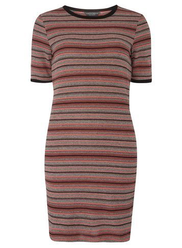 Womens **Tall Grey And Prink Stripe Tunic Grey - pattern: horizontal stripes; style: tunic; predominant colour: pink; secondary colour: black; occasions: casual; fibres: polyester/polyamide - mix; fit: body skimming; neckline: crew; length: mid thigh; sleeve length: short sleeve; sleeve style: standard; pattern type: fabric; texture group: jersey - stretchy/drapey; multicoloured: multicoloured; season: a/w 2016; wardrobe: highlight