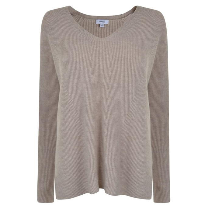 V Neck Wool Jumper - neckline: v-neck; pattern: plain; style: standard; predominant colour: taupe; occasions: casual, work, creative work; length: standard; fibres: wool - mix; fit: loose; sleeve length: long sleeve; sleeve style: standard; texture group: knits/crochet; pattern type: knitted - fine stitch; wardrobe: basic; season: a/w 2016