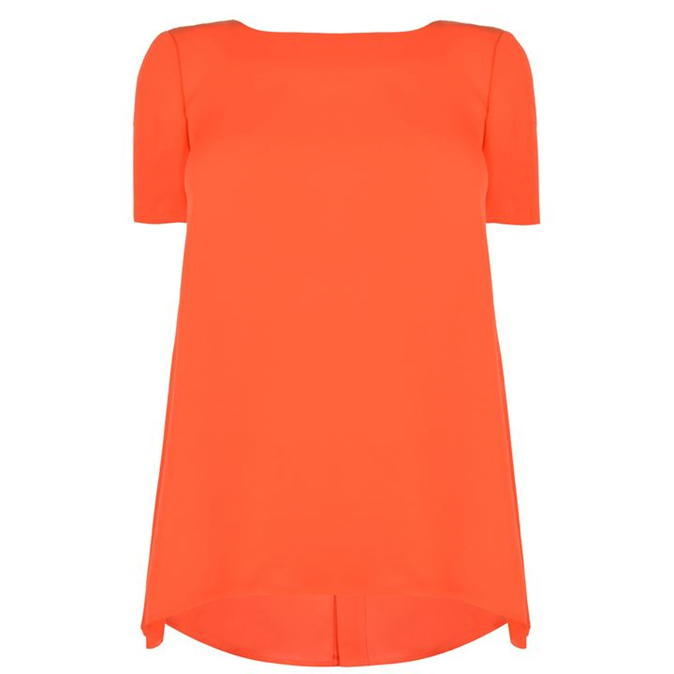 Maggy Silk Top - neckline: slash/boat neckline; pattern: plain; length: below the bottom; predominant colour: bright orange; occasions: casual, creative work; style: top; fibres: silk - 100%; fit: loose; hip detail: dip hem; sleeve length: short sleeve; sleeve style: standard; texture group: silky - light; pattern type: fabric; season: a/w 2016; wardrobe: highlight
