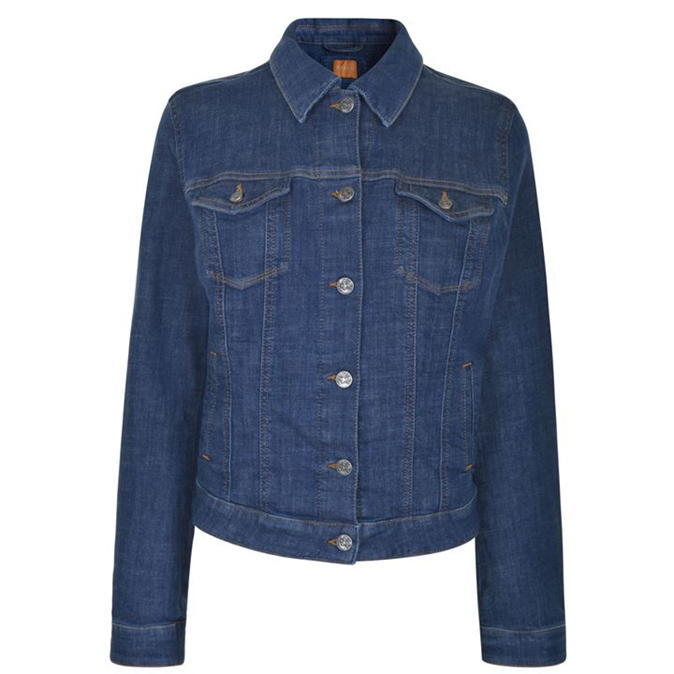 Denim Jacket - pattern: plain; style: denim; predominant colour: denim; occasions: casual, creative work; length: standard; fit: straight cut (boxy); fibres: cotton - 100%; collar: shirt collar/peter pan/zip with opening; sleeve length: long sleeve; sleeve style: standard; texture group: denim; collar break: high; pattern type: fabric; wardrobe: basic; season: a/w 2016