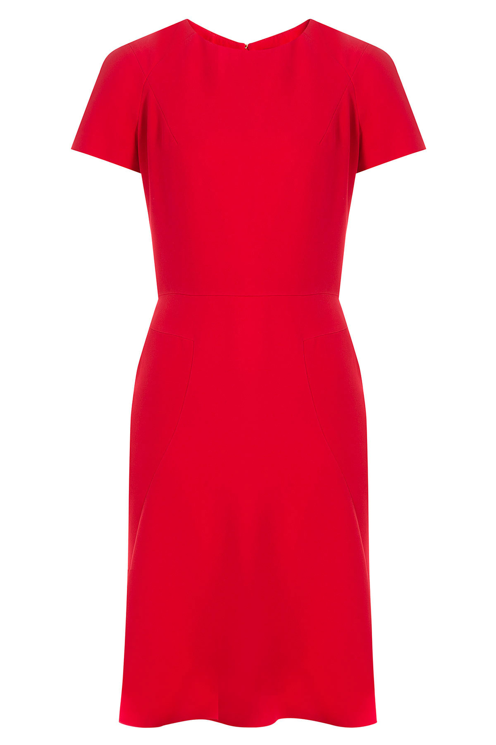 Tailored Dress - pattern: plain; predominant colour: true red; occasions: evening; length: on the knee; fit: fitted at waist & bust; style: fit & flare; fibres: viscose/rayon - 100%; neckline: crew; sleeve length: short sleeve; sleeve style: standard; pattern type: fabric; texture group: other - light to midweight; season: a/w 2016; wardrobe: event