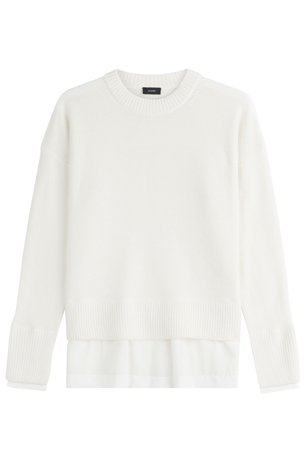 Layered Wool Pullover - neckline: round neck; pattern: plain; style: standard; predominant colour: white; occasions: casual, creative work; length: standard; fibres: wool - 100%; fit: loose; sleeve length: long sleeve; sleeve style: standard; texture group: knits/crochet; pattern type: knitted - fine stitch; wardrobe: basic; season: a/w 2016
