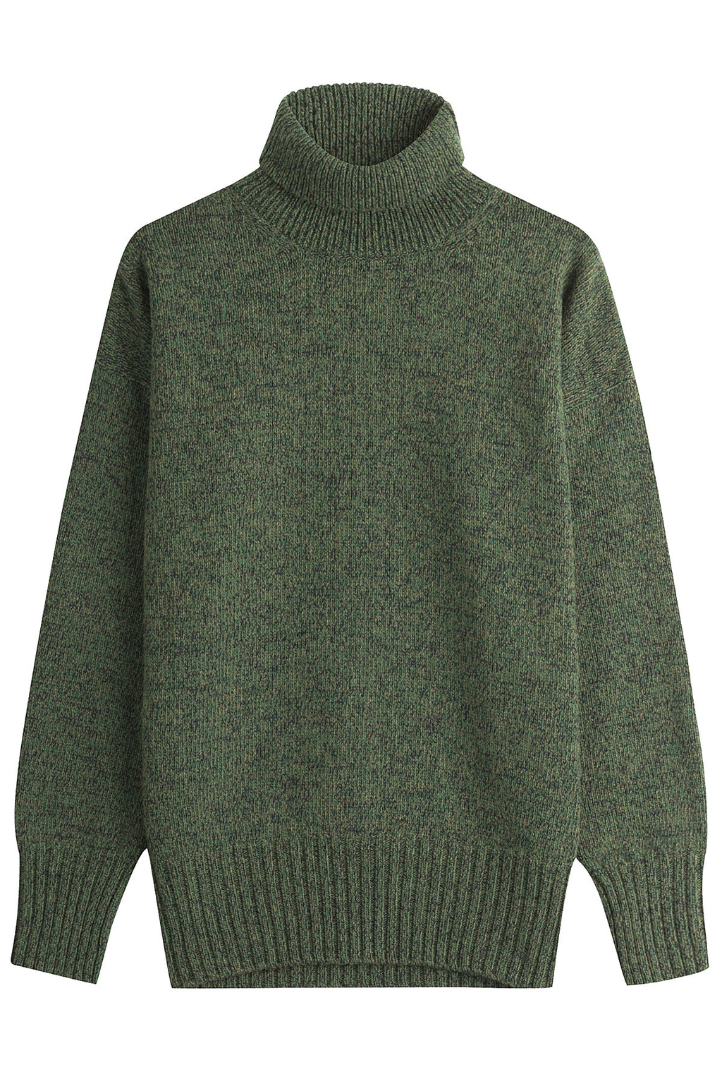 Merino Wool Pullover Green - pattern: plain; length: below the bottom; neckline: roll neck; style: standard; predominant colour: khaki; occasions: casual, creative work; fibres: wool - 100%; fit: loose; sleeve length: long sleeve; sleeve style: standard; texture group: knits/crochet; pattern type: knitted - other; season: a/w 2016
