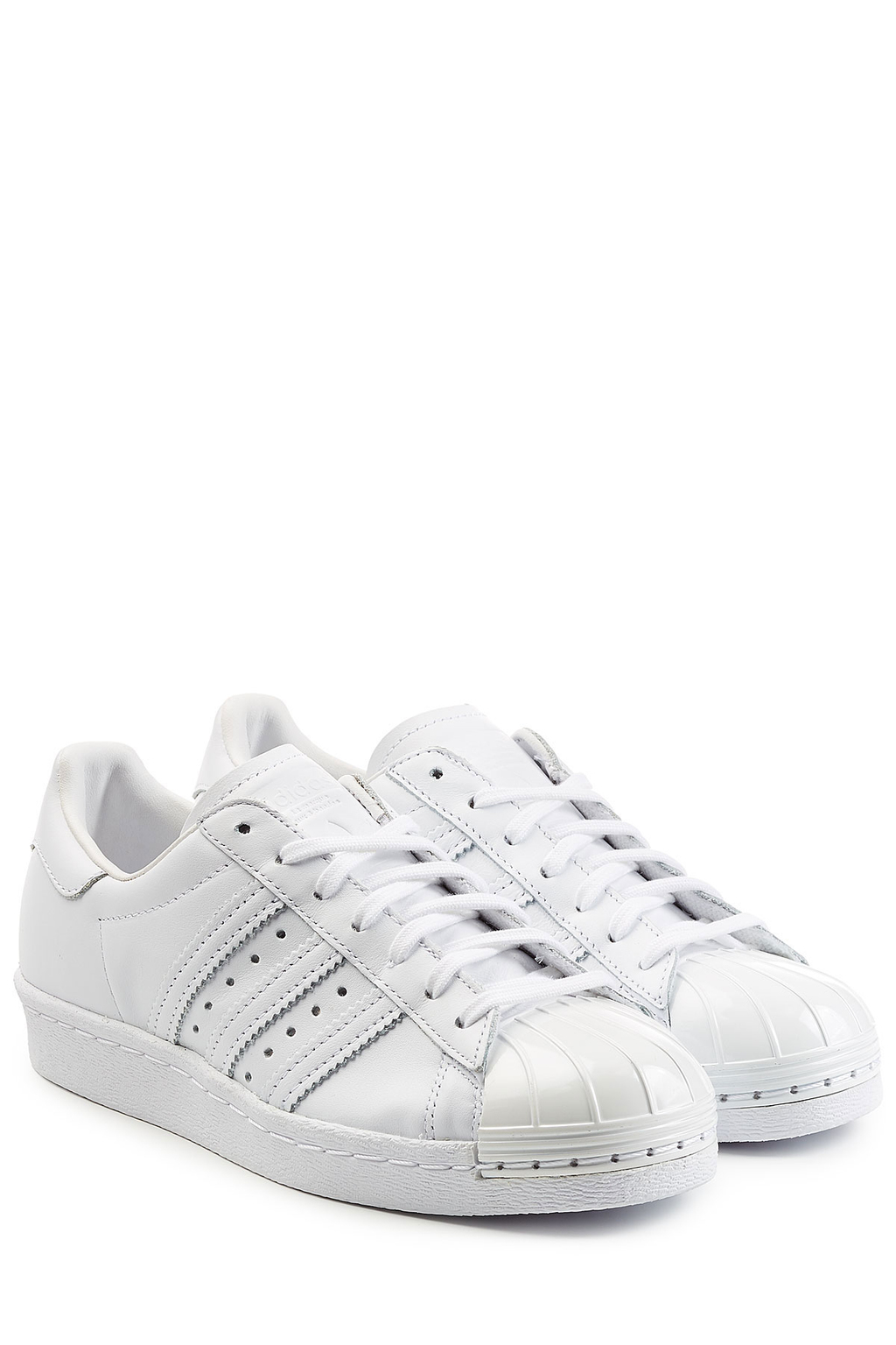 Superstar Leather Sneakers - predominant colour: white; occasions: casual, activity; material: leather; heel height: flat; toe: round toe; style: trainers; finish: plain; pattern: plain; season: a/w 2016