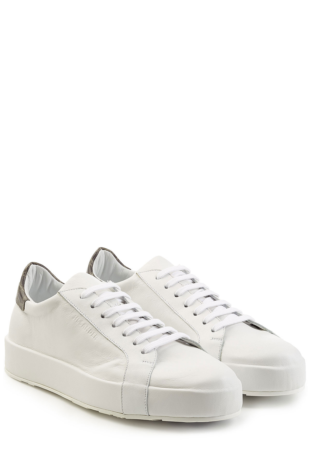 Leather Sneakers - predominant colour: white; occasions: casual, activity; material: leather; heel height: flat; toe: round toe; style: trainers; finish: plain; pattern: plain; season: a/w 2016