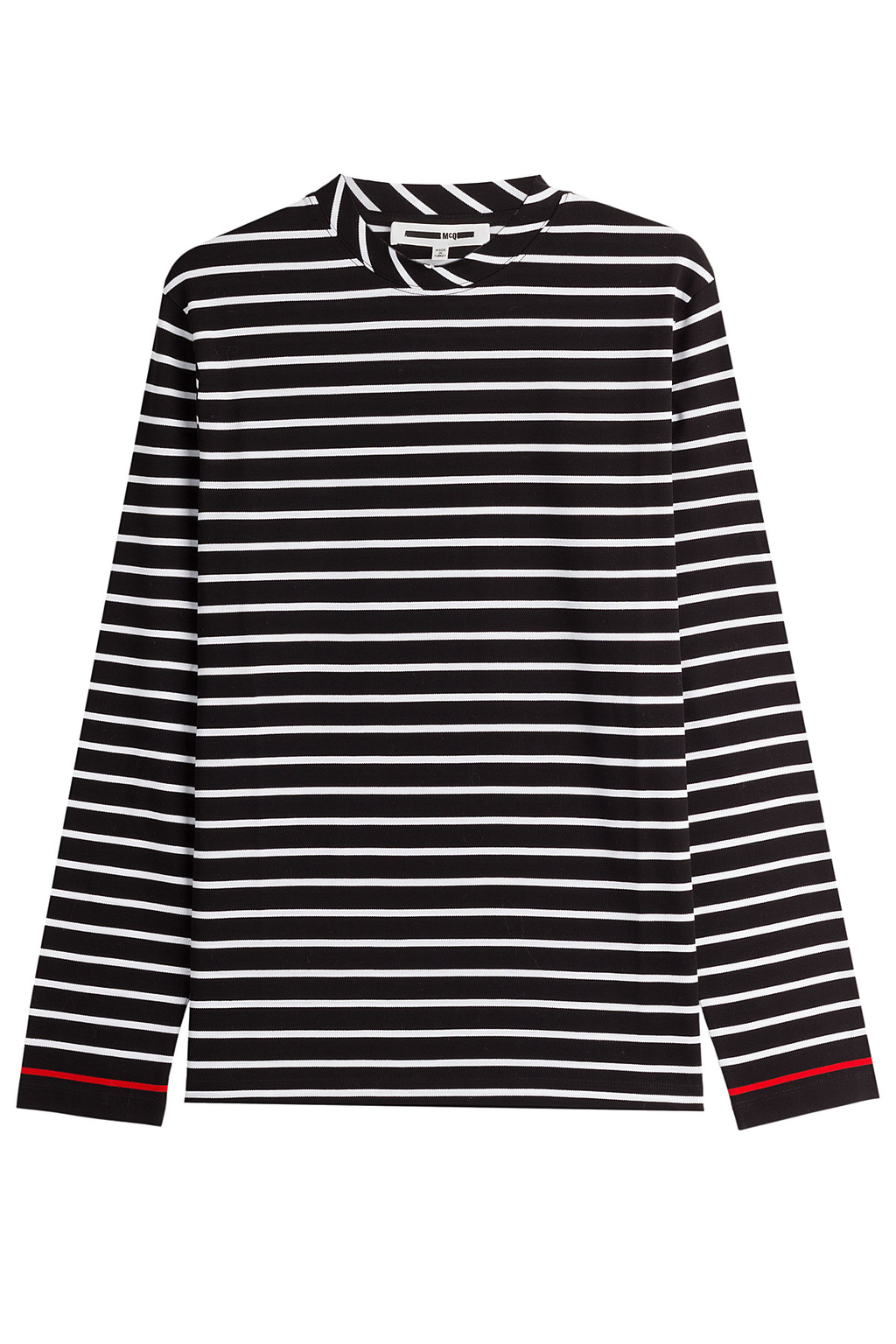 Striped Cotton Top - neckline: round neck; pattern: horizontal stripes; secondary colour: white; predominant colour: black; occasions: casual, creative work; length: standard; style: top; fibres: cotton - 100%; fit: straight cut; sleeve length: long sleeve; sleeve style: standard; pattern type: fabric; texture group: jersey - stretchy/drapey; pattern size: big & busy (top); wardrobe: basic; season: a/w 2016