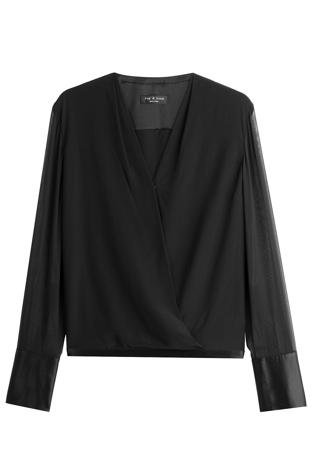 Draped Silk Blouse - neckline: v-neck; pattern: plain; style: blouse; bust detail: subtle bust detail; predominant colour: black; occasions: work; length: standard; fibres: silk - 100%; fit: loose; sleeve length: long sleeve; sleeve style: standard; texture group: silky - light; pattern type: fabric; wardrobe: basic; season: a/w 2016