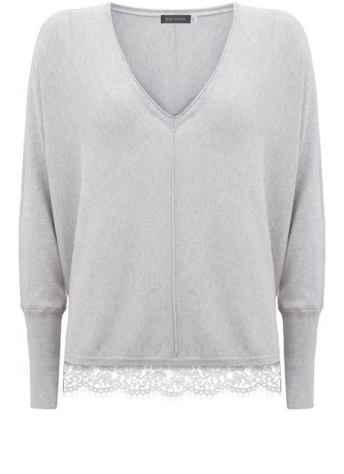 Lilac Lace Hem V Neck Batwing Knit - neckline: v-neck; pattern: plain; sleeve style: leg o mutton; predominant colour: lilac; occasions: casual, creative work; length: standard; style: top; fit: loose; sleeve length: long sleeve; texture group: knits/crochet; pattern type: fabric; fibres: cashmere - mix; embellishment: lace; season: a/w 2016; wardrobe: highlight