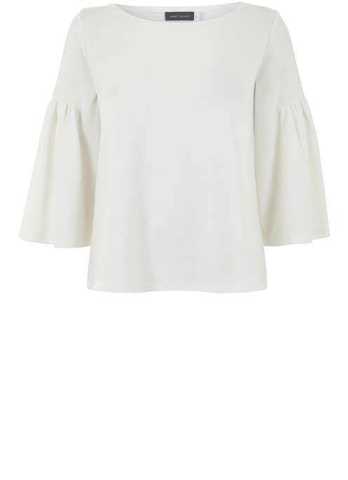Ivory Fluted Sleeve Textured Top - neckline: slash/boat neckline; sleeve style: dolman/batwing; pattern: plain; predominant colour: white; occasions: casual, work, creative work; length: standard; style: top; fibres: polyester/polyamide - stretch; fit: body skimming; sleeve length: 3/4 length; pattern type: fabric; texture group: other - light to midweight; wardrobe: basic; season: a/w 2016