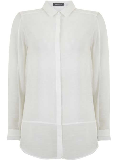 Ivory Shadow Stripe Blocked Shirt - neckline: shirt collar/peter pan/zip with opening; pattern: plain; length: below the bottom; style: shirt; predominant colour: ivory/cream; occasions: casual, work, creative work; fibres: polyester/polyamide - 100%; fit: body skimming; sleeve length: short sleeve; sleeve style: standard; texture group: silky - light; pattern type: fabric; wardrobe: basic; season: a/w 2016