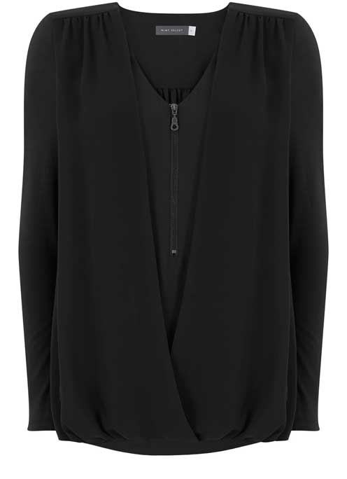 Black Zip Front Double Layer Blouson Top - neckline: low v-neck; pattern: plain; length: below the bottom; style: blouson; predominant colour: black; occasions: casual, work, creative work; fibres: polyester/polyamide - 100%; fit: loose; sleeve length: long sleeve; sleeve style: standard; pattern type: fabric; texture group: jersey - stretchy/drapey; wardrobe: basic; season: a/w 2016