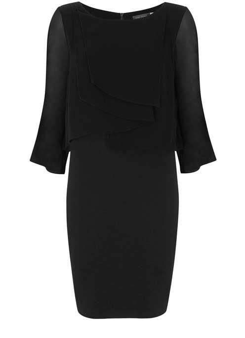 Black Layered Jersey Mix Dress - style: shift; neckline: round neck; pattern: plain; predominant colour: black; occasions: evening; length: just above the knee; fit: body skimming; fibres: viscose/rayon - 100%; sleeve length: 3/4 length; sleeve style: standard; bust detail: tiers/frills/bulky drapes/pleats; pattern type: fabric; texture group: jersey - stretchy/drapey; season: a/w 2016