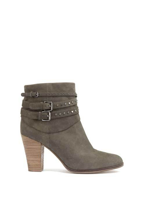 Grey Margot Nubuck Ankle Boot - predominant colour: mid grey; occasions: casual, creative work; material: suede; heel height: high; heel: block; toe: round toe; boot length: ankle boot; style: standard; finish: plain; pattern: plain; season: a/w 2016; wardrobe: highlight