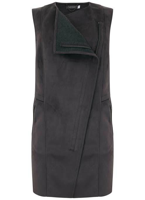 Granite Suedette Waistcoat - pattern: plain; sleeve style: sleeveless; collar: round collar/collarless; length: below the bottom; fit: slim fit; predominant colour: black; occasions: casual; fibres: polyester/polyamide - stretch; style: waistcoat; sleeve length: sleeveless; collar break: high; pattern type: fabric; texture group: suede; season: a/w 2016; wardrobe: highlight