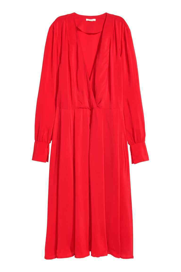 Calf Length Dress - style: shirt; neckline: low v-neck; fit: fitted at waist; pattern: plain; predominant colour: true red; occasions: casual, creative work; length: on the knee; fibres: viscose/rayon - 100%; sleeve length: 3/4 length; sleeve style: standard; texture group: cotton feel fabrics; pattern type: fabric; season: a/w 2016; wardrobe: highlight