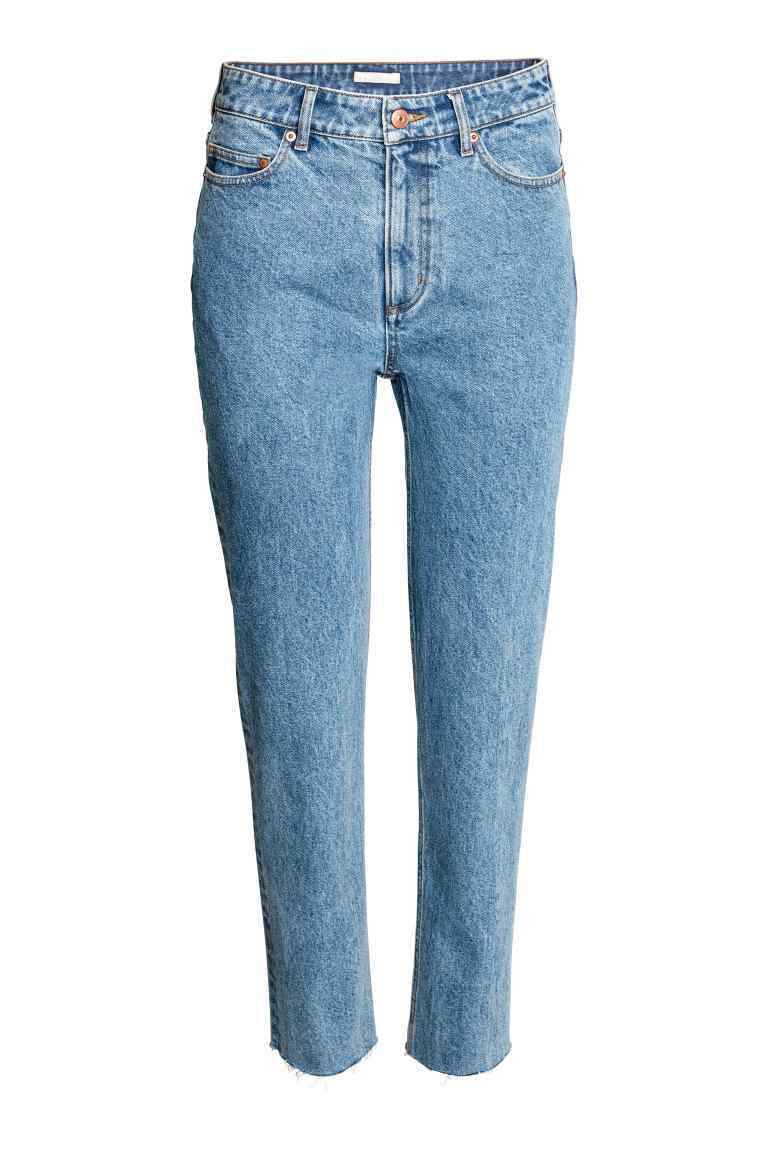 Jeans High Waist - length: standard; pattern: plain; waist: high rise; pocket detail: traditional 5 pocket; style: slim leg; predominant colour: denim; occasions: casual; fibres: cotton - stretch; texture group: denim; pattern type: fabric; wardrobe: basic; season: a/w 2016