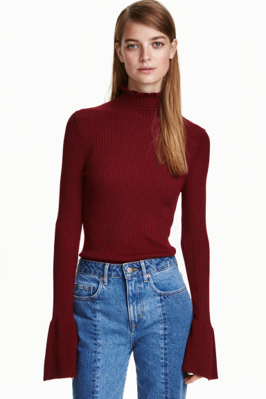 Ribbed Flounced Turtleneck - sleeve style: bell sleeve; pattern: plain; neckline: high neck; predominant colour: burgundy; occasions: casual, creative work; length: standard; style: top; fibres: acrylic - mix; fit: body skimming; sleeve length: long sleeve; pattern type: fabric; texture group: jersey - stretchy/drapey; season: a/w 2016; trends: statement sleeves