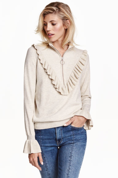 Fine Knit Jumper With A Frill - sleeve style: bell sleeve; pattern: plain; neckline: high neck; style: standard; predominant colour: ivory/cream; occasions: casual, creative work; length: standard; fibres: polyester/polyamide - mix; fit: loose; sleeve length: long sleeve; texture group: knits/crochet; pattern type: knitted - fine stitch; season: a/w 2016; wardrobe: highlight; embellishment location: bust