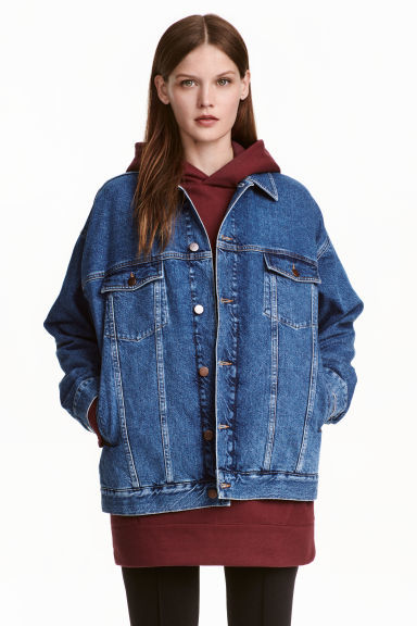Oversized Denim Jacket - pattern: plain; fit: loose; style: denim; predominant colour: denim; occasions: casual, creative work; length: standard; fibres: cotton - 100%; collar: shirt collar/peter pan/zip with opening; sleeve length: long sleeve; sleeve style: standard; texture group: denim; collar break: high; pattern type: fabric; wardrobe: basic; season: a/w 2016