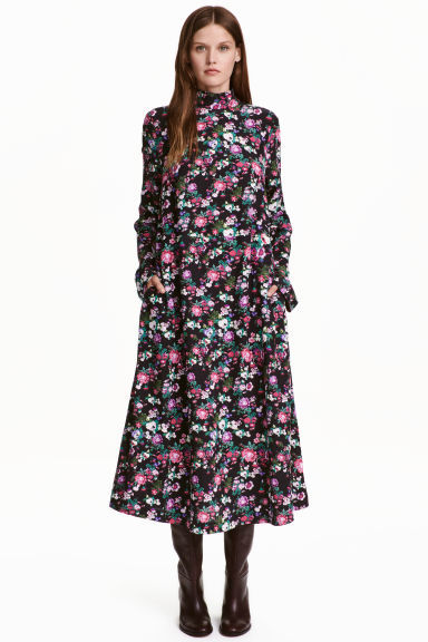 Patterned Dress - style: a-line; length: calf length; neckline: high neck; secondary colour: pink; predominant colour: navy; occasions: casual; fit: soft a-line; fibres: viscose/rayon - 100%; sleeve length: long sleeve; sleeve style: standard; pattern type: fabric; pattern: patterned/print; texture group: jersey - stretchy/drapey; season: a/w 2016; wardrobe: highlight