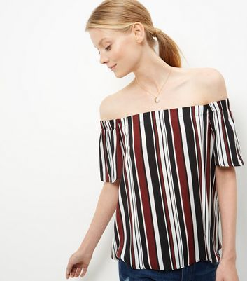 Red Stripe Bardot Neck Top - neckline: off the shoulder; pattern: striped; secondary colour: white; predominant colour: navy; occasions: casual, creative work; length: standard; style: top; fibres: polyester/polyamide - 100%; fit: loose; sleeve length: short sleeve; sleeve style: standard; pattern type: fabric; texture group: other - light to midweight; pattern size: big & busy (top); multicoloured: multicoloured; season: a/w 2016