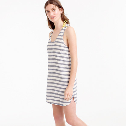 Linen Cotton Racerback Tunic In Stripe - neckline: v-neck; sleeve style: standard vest straps/shoulder straps; pattern: horizontal stripes; style: tunic; back detail: racer back/sports back; predominant colour: black; occasions: casual, holiday; fibres: cotton - mix; fit: body skimming; length: mid thigh; sleeve length: sleeveless; texture group: cotton feel fabrics; pattern type: fabric; pattern size: big & busy (top); wardrobe: basic; season: a/w 2016