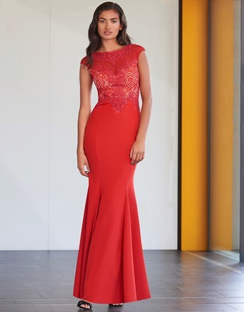 Lace Trim Maxi Dress - neckline: slash/boat neckline; sleeve style: capped; pattern: plain; predominant colour: true red; occasions: evening; length: floor length; fit: body skimming; fibres: polyester/polyamide - stretch; style: fishtail; sleeve length: short sleeve; texture group: lace; pattern type: fabric; embellishment: lace; season: a/w 2016; wardrobe: event