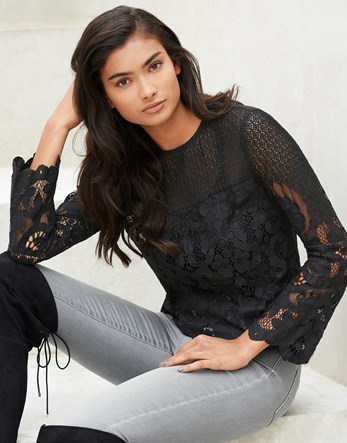 Bell Sleeve Lace Top - predominant colour: black; occasions: evening; length: standard; style: top; fibres: polyester/polyamide - mix; fit: straight cut; neckline: crew; sleeve length: long sleeve; sleeve style: standard; texture group: lace; pattern type: fabric; pattern: patterned/print; embellishment: lace; season: a/w 2016
